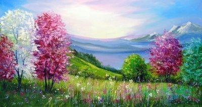 Картина пейзаж «Весна в горах» купить живопись для современных интерьеров Украина
