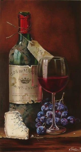 Картина натюрморт «Вино и сыр» купить живопись для современных интерьеров Украина