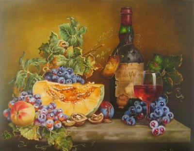 Картина «Натюрморт с вином и виноградом»