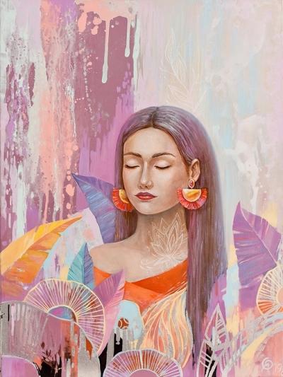 Картина детям «Водопад среди цветов» купить картину маслом Киев