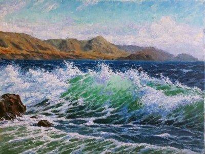 Картина маслом морской пейзаж «Волна» купить современную живопись Украина
