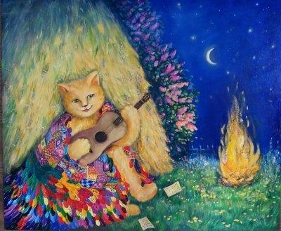 Картина маслом «Волшебная летняя ночь» купить живопись для современных интерьеров Украина