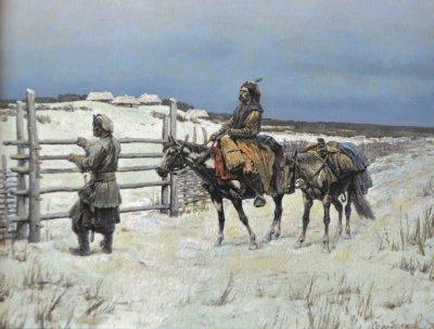 Картина маслом исторический пейзаж «Возвращение домой» купить живопись для современных интерьеров Киев