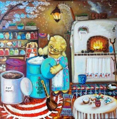 Картина маслом «Впрок» купить живопись для современных интерьеров Украина