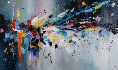 Картина живопись маслом абстракция «Всплеск энергии» купить живопись для современных интерьеров Украина