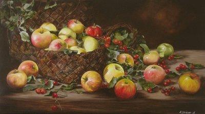 Картина натюрморт «Яблочный спас» купить живопись для современных интерьеров Украина