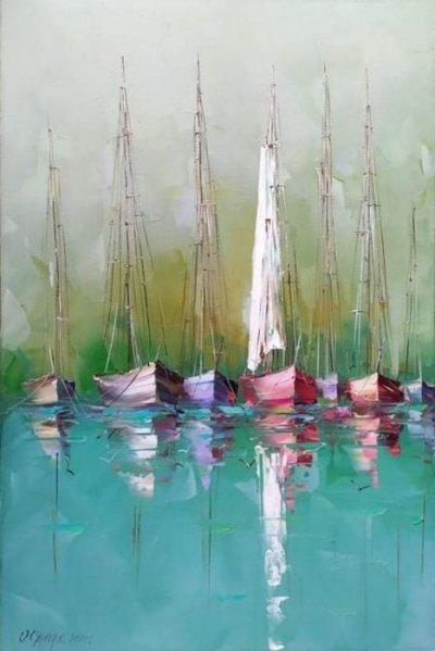 Картина маслом море пейзаж «Яхты» купить живопись Киев Украина