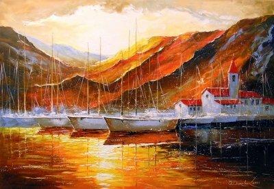 Абстрактная картина «Яхты в горной гавани» купить живопись для современных интерьеров Украина
