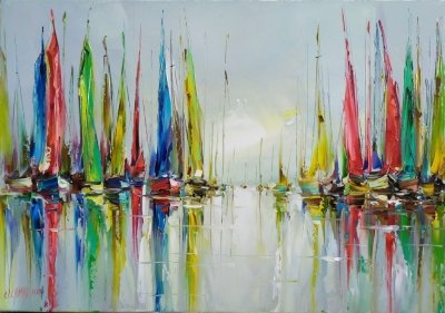 Картина маслом море «Яхты» купить картины для современных интерьеров Киев