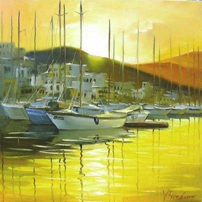 Картина пейзаж «Яхты» купить живопись для современных интерьеров Украина