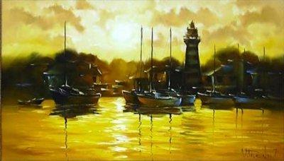 Картина пейзаж море «Яхты» купить живопись для современных интерьеров Украина