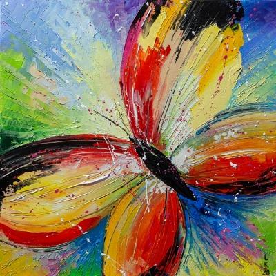 Картина маслом «Яркая бабочка» купить живопись для современных интерьеров Украина