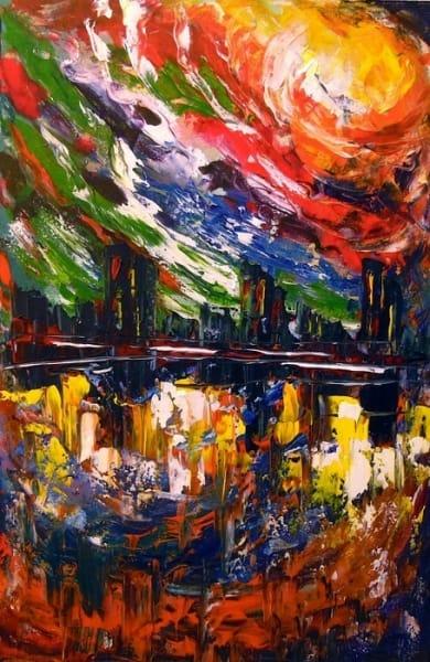 Картина маслом абстракция «Яркая буря над городом» купить живопись для современных интерьеров Украина