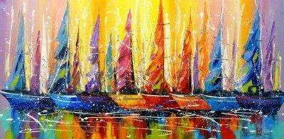 Абстрактная картина «Яркие паруса» купить живопись для современных интерьеров Украина