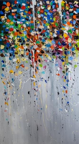 Картина живопись маслом абстракция «За миг до дождя» купить живопись для современных интерьеров Украина