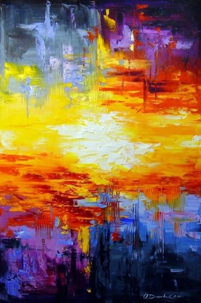 Абстрактная картина «Закат» купить живопись для современных интерьеров Киев