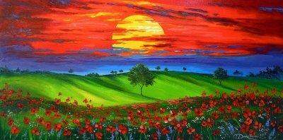 Картина маслом цветы «Закат над маковым полем» купить живопись для современных интерьеров Украина