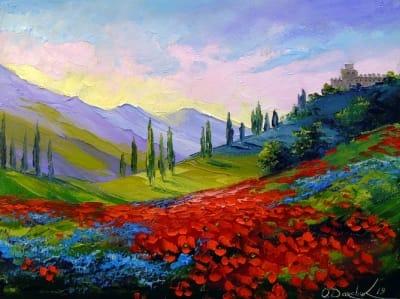 Картина маслом пейзаж «Замок на горе» купить живопись для современных интерьеров Украина