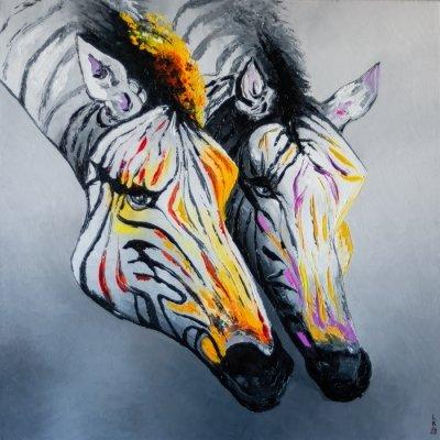 Картина маслом анималистика «Зебры» купить живопись для современных интерьеров Украина