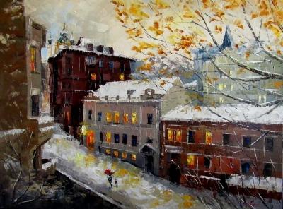 Картина маслом городской пейзаж «Зимнее настроение» купить живопись для современных интерьеров Украина