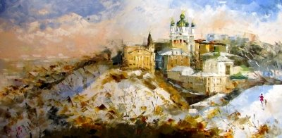 Картина маслом зимний киевский пейзаж «Зимний Киев» купить живопись для современных интерьеров Украина