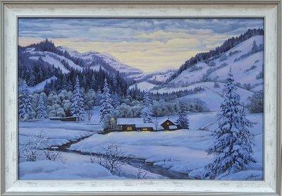 Картина маслом зимний пейзаж «Зимний тихий вечер» купить живопись Украина
