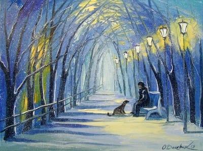Картина маслом зимний пейзаж «Зимний вечер» купить живопись для современных интерьеров Украина