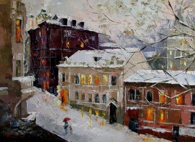 Картина маслом городской пейзаж «Зимний вечер» купить живопись для современных интерьеров Украина