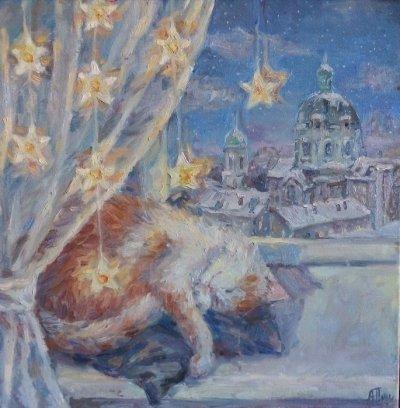 Картина маслом «Зимние сны» купить современную живопись Украина