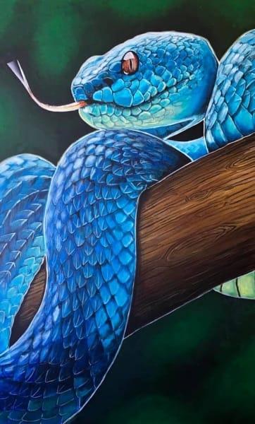 Картина акрил анималистика «Змея» купить живопись для современных интерьеров Украина