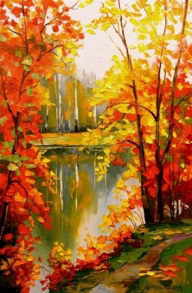 Картина маслом осенний пейзаж «Золотая осень» - картины для современных интерьеров Украина