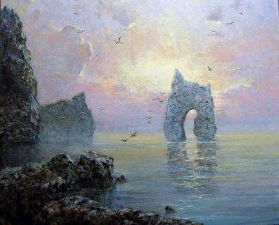 Картина маслом морской пейзаж «Золотые ворота» купить современную живопись Украина