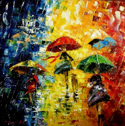 Картина маслом «Зонтики» купить живопись для современных интерьеров Украина