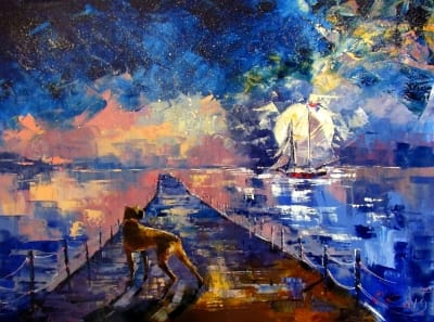 Картина маслом морской пейзаж «Звездная ночь» купить живопись для современных интерьеров Украина