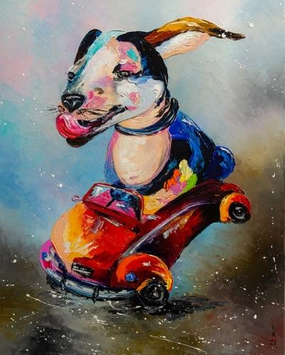 Картина маслом детям «Звезда автострады» купить живопись для современных интерьеров Киев