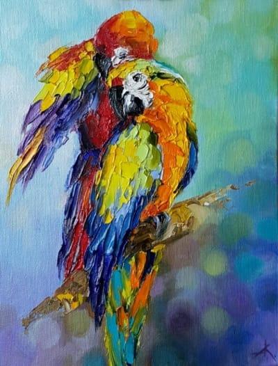 Анималистика птицы «Я и ты» картины для современных интерьеров Украина