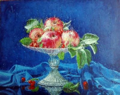 Картина маслом натюрморт «Яблоки» купить современную живопись Украина