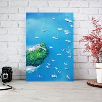 Картина маслом море «Яхты в море» купить живопись для современных интерьеров Киев