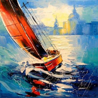 Картина «Яхта на ветру»