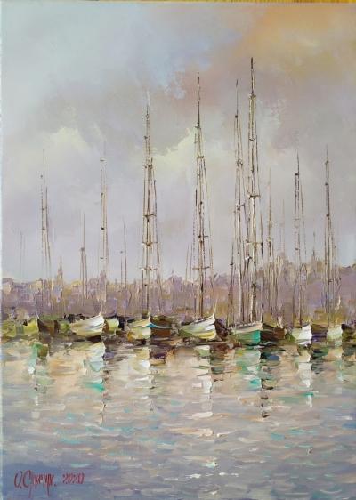 Картина маслом морской пейзаж «Яхты» купить живопись Украина