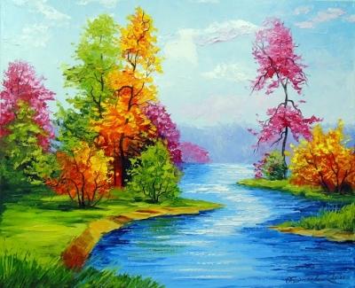 Картина пейзаж «Яркая природа» купить живопись для современных интерьеров Украина