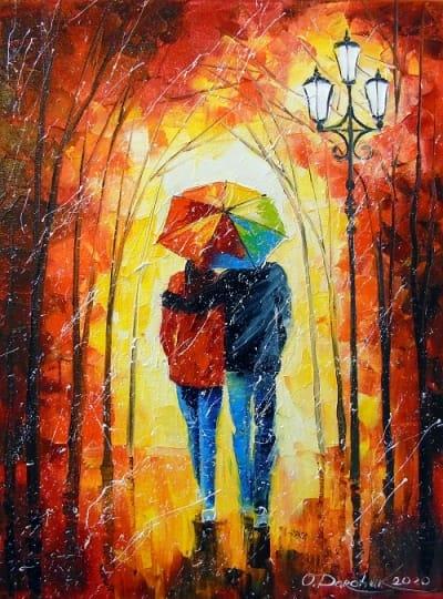 Картина маслом пейзаж «Яркая прогулка для двоих» купить живопись для современных интерьеров Украина