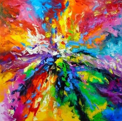 Картина маслом абстракция «Яркие эмоции» купить живопись для современных интерьеров Украина