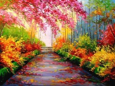 Картина маслом «Яркие краски осени» - купить живопись для современных интерьеров Украина