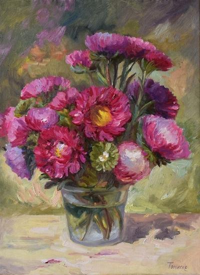 Картина цветы «Яркий август» купить живопись для современных интерьеров Украина