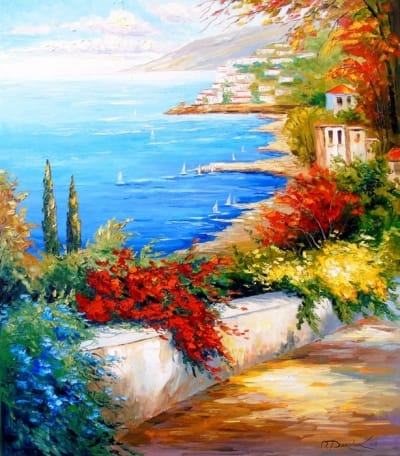 Картина маслом «Яркий день у моря» - живопись для современных интерьеров Украина