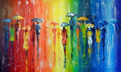 Абстрактная картина «Яркий дождь» купить живопись для современных интерьеров Украина