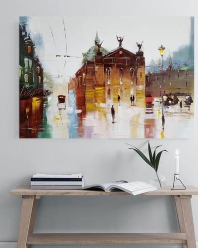 Картина маслом городской пейзаж «Загадочный Львов» купить живопись для современных интерьеров Украина