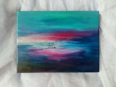 Картина «Медленный закат... и небо встретилось с водой»