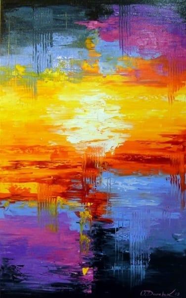 Картина маслом пейзаж «Закат» купить живопись для современных интерьеров Украина